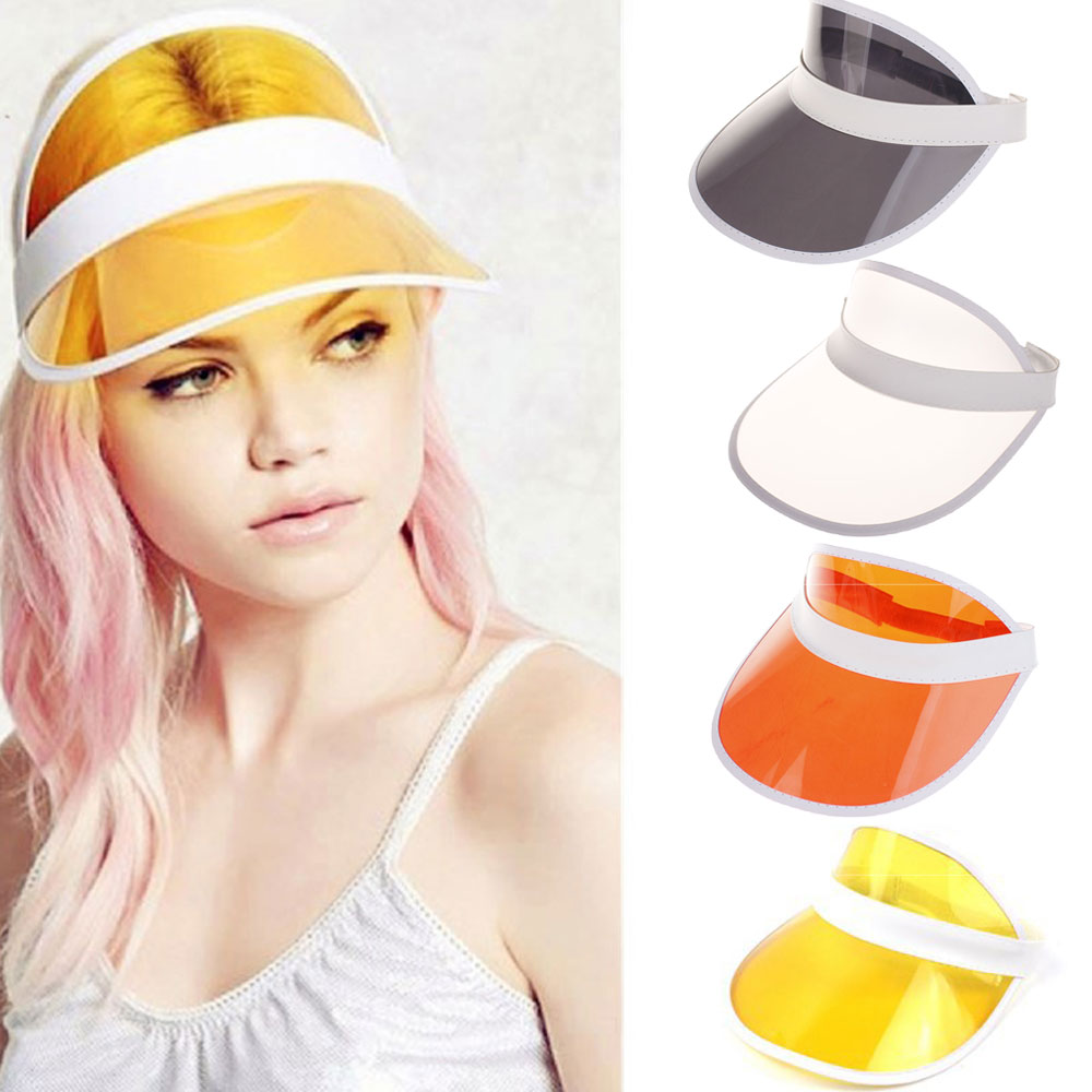 Summer Women Unisex Sun Hat Candy Color Transparent Empty Top Plastic PVC Sunshade Hat Visor Caps Bicycle Sunhat Drop Shipping