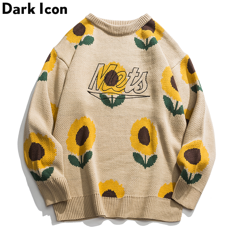 Dark Icon Sunflower Sweater Women Men 2019 Autumn Fashion Long Sleeve Knitted Pullover High Quality Clothes
