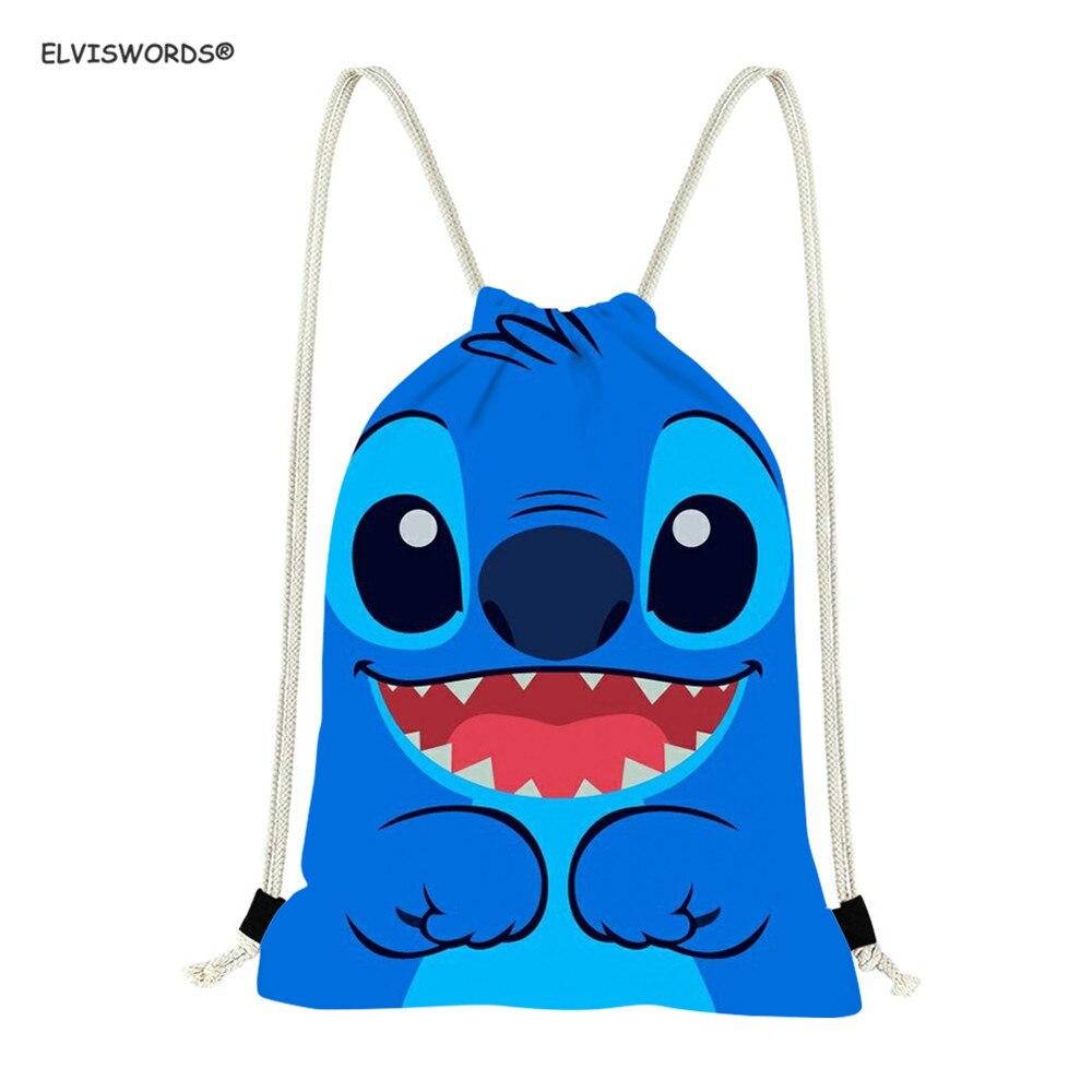 ELVISWORDS Cartoon Stitch Pattern  Pattern Drawstring Bag Travel Tote Sport Sack Women Kids Schoolbags For Boys Small Sack Pack