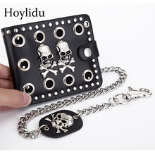 Skull Wallet Retro Dark-Gothic Luxury Purse Chain-Card-Holder Men's Double Rivet