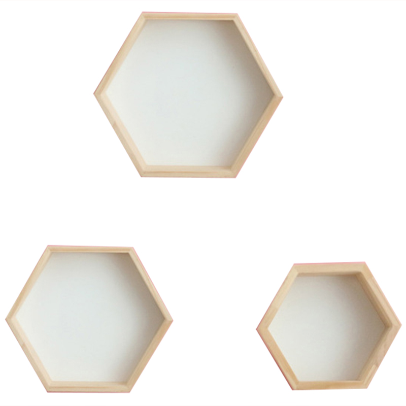 3Pcs/Set Nordic Style Kids Room Decoration Shelf Honeycomb Hexagon Shelves For Baby Child Bedroom Decoration-White