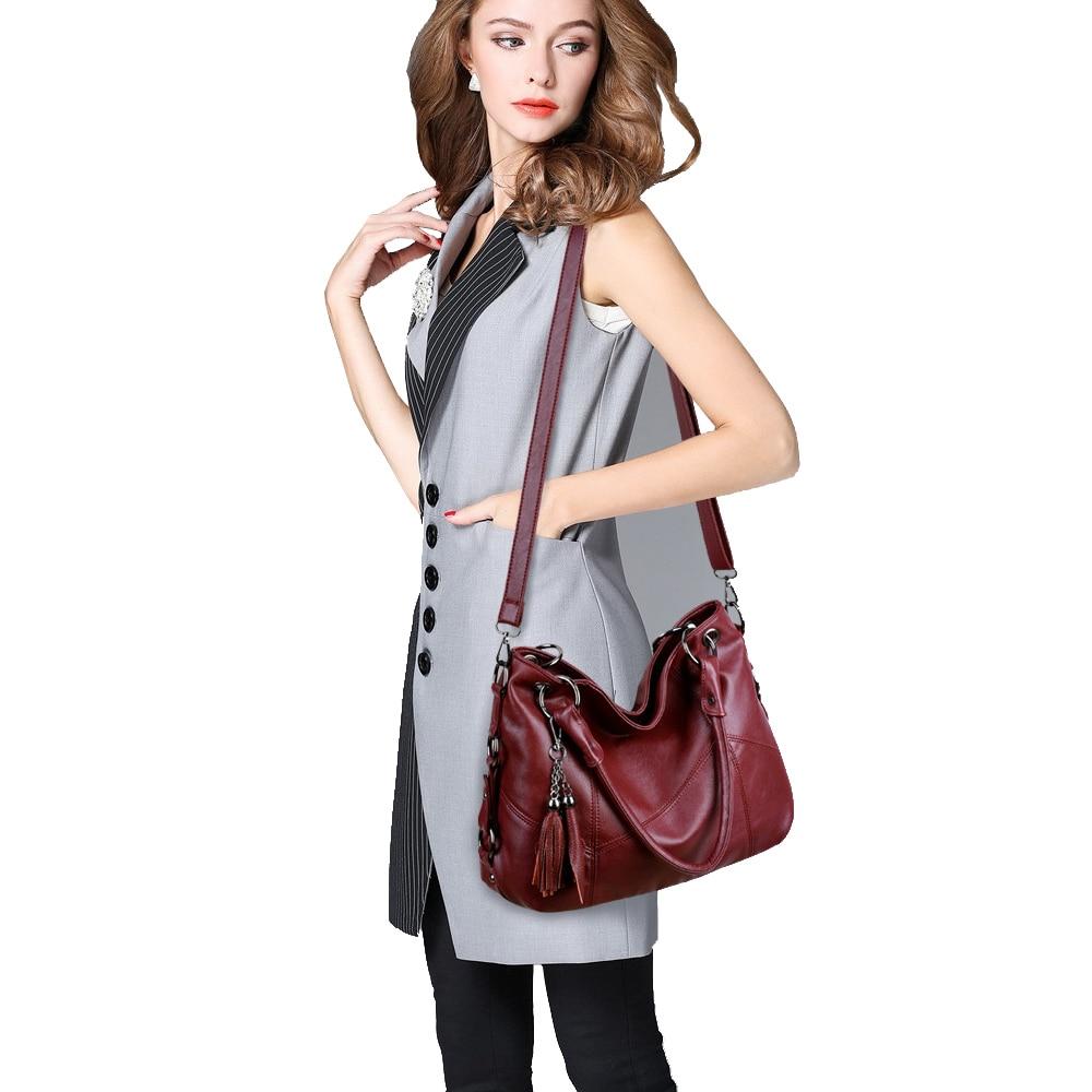 Image 2 - Lanzhixin Women Leather Handbags Women Messenger Bags Designer Crossbody Bag Women Bolsa Top handle Bags Tote Shoulder Bags 819S-in Shoulder Bags from Luggage & Bags