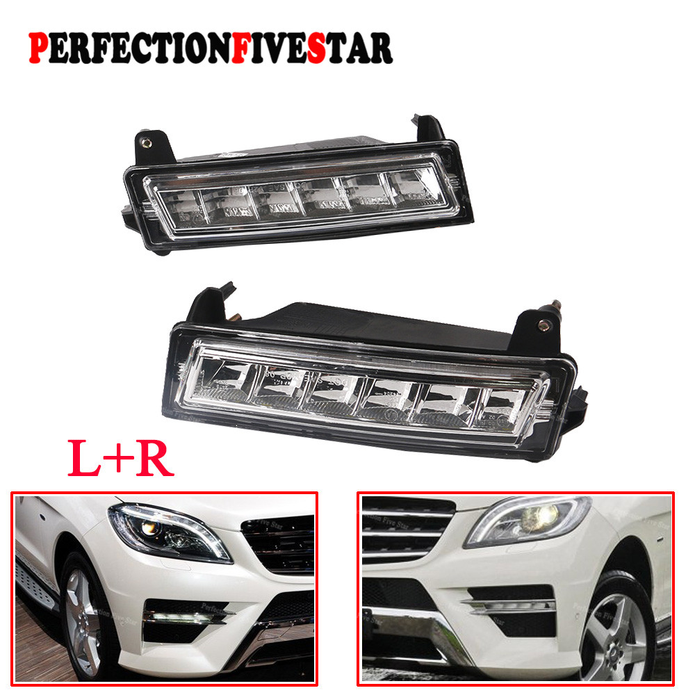 1649060151 1649060251 Pair Front Left Right LED Daytime Running Light DRL For Mercedes W164 ML450 GL450 GLK350 2010 2012(China)