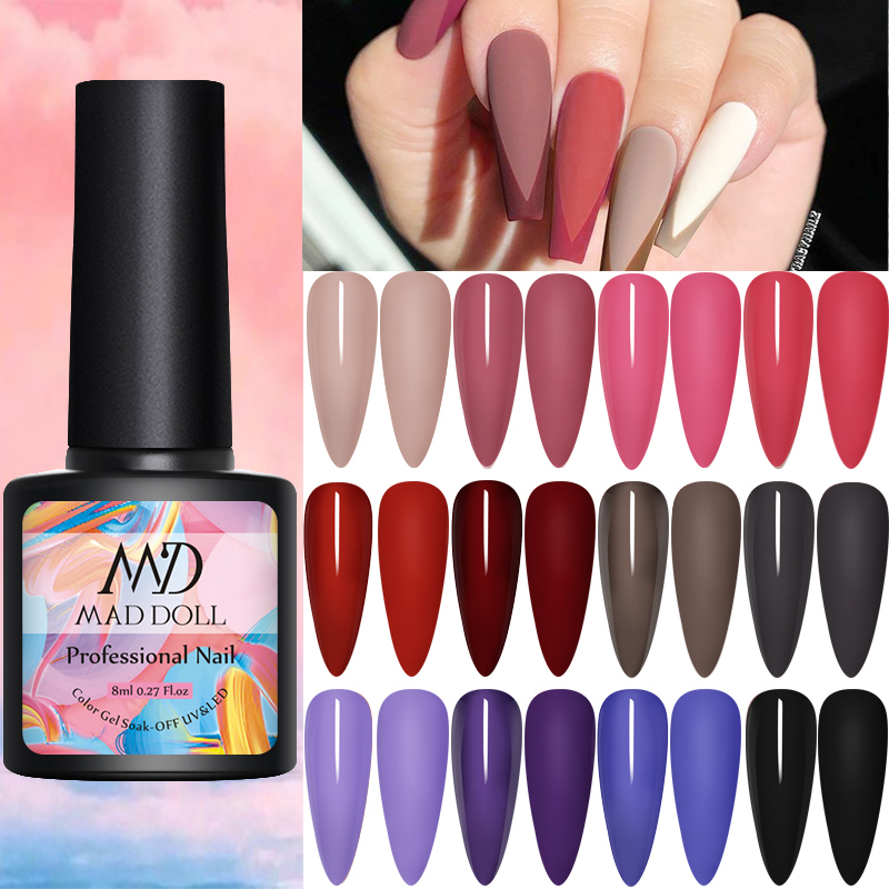 MAD DOLL 1 Bottle 8ml Pink Purple Blue Mixed Color Gel Nail Polish  Long Lasting Soak Off UV Gel Varnish One-shot Nail Art Gel