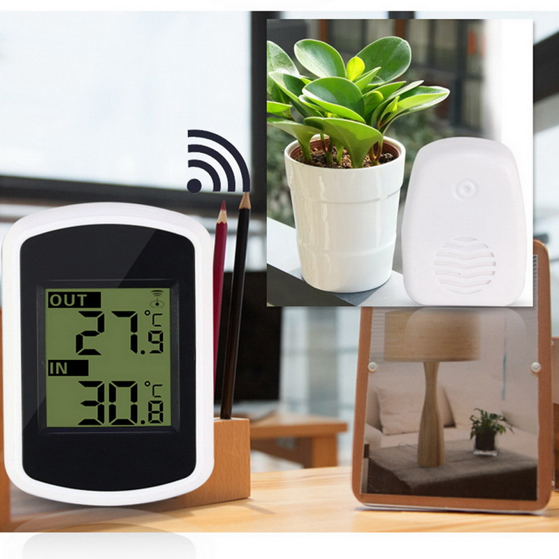 LCD Wireless Digital Thermometer Indoor and Outdoor Temperature Humidity Meter Hygrometer Thermometer Weather Station Clocks