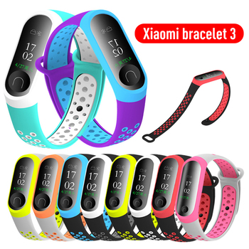 For mi band 4 Sports Bracelet Replacement Wrist Strap Silicone Double Color Breathable Watchband for Xiaomi miband 3