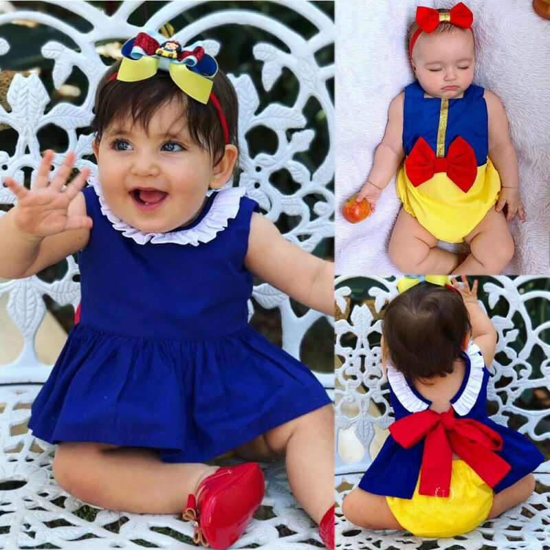 0-24 Months Baby Girls Cloths Snow White Baby Girl Bow Clothes Romper Tops Fancy Dress Shorts Set Party Baby Girls Outfits