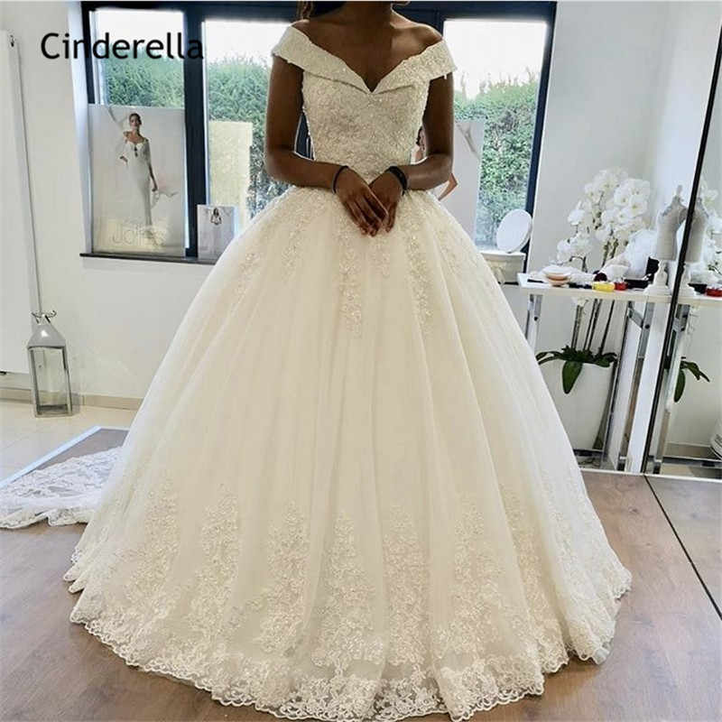 Cinderella Elegant Off The Shoulder Lace Applique Crystal Beaded Lace Up Princess Ball Gown Wedding Dresses Vestido De Noiva Wedding Dresses Aliexpress