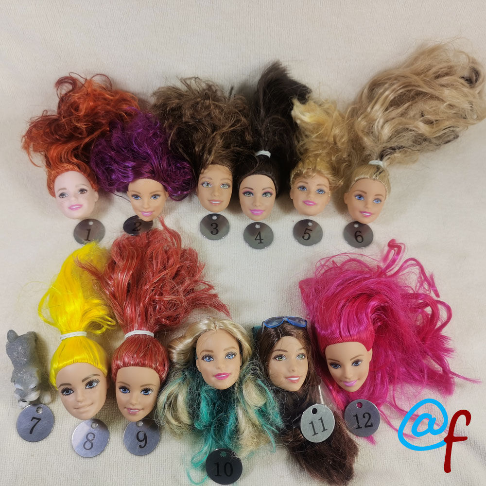 B20-8 Original Foreign Trade European Beauty1/6 OOAK NUDE Doll Head Mussed Hair For DIY Soft PVC Head  90%NEW