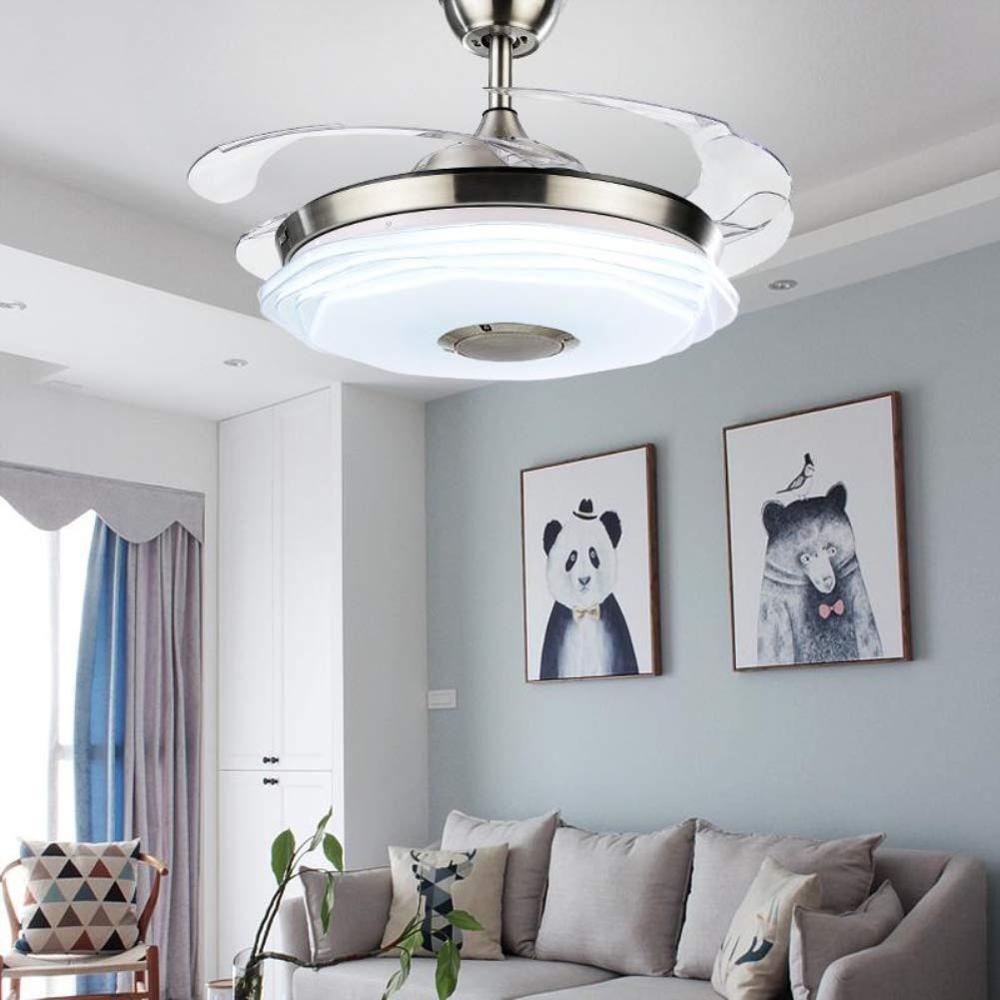 42 современный потолочный вентилятор светильник с Bluetooth музыкальным плеером люстра выдвижные лопасти дистанционного управления 3 скорости ... - 2