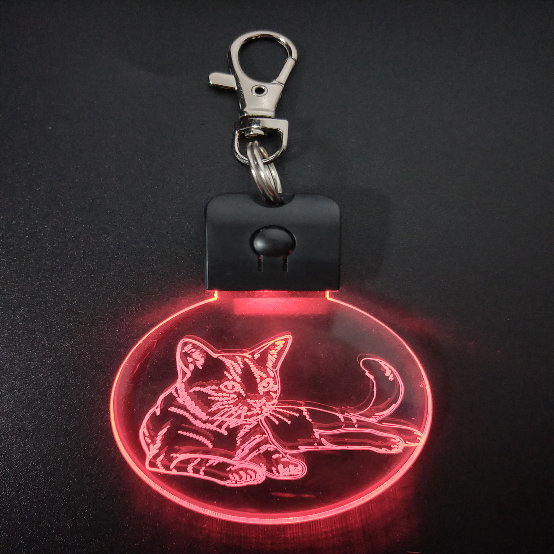 Sleeping Cat KeyChain 3D ABS Arylic Night Light LED Magical Table Lamp Lighting Colors Decoration Gift With Li Battery Dropship