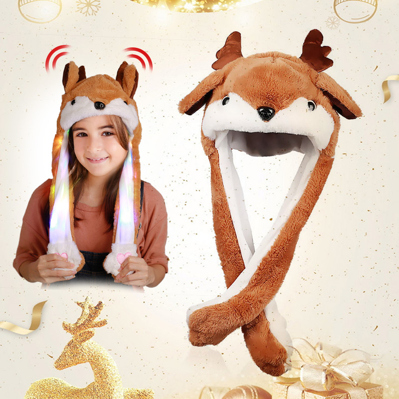 Christmas Deer Hat  Hat Moving Ear With Light And Music Cute Cartoon Toy Hat Kawaii Funny Cap Children Shine Winter Hat