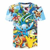 3d pokemon camiseta masculina e feminina moda verão casual camiseta em torno do pescoço superior dos desenhos animados traje bonito roupas