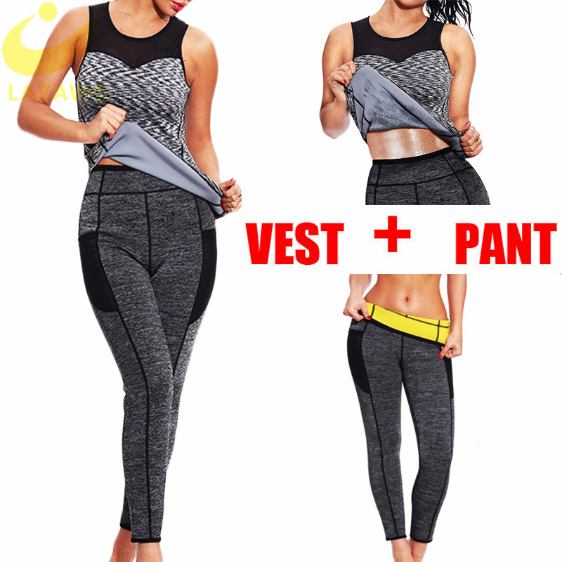 LAZAWG Hot Sauna Sweat Pants Neoprene Waist Trainer Gym Workout Suits Tank Top Body Shaper Control Panty Legging Shirt