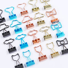 Stationery Binder-Clip-Set School-Supplies Metal Office Candy-Color Sweet Korean Student