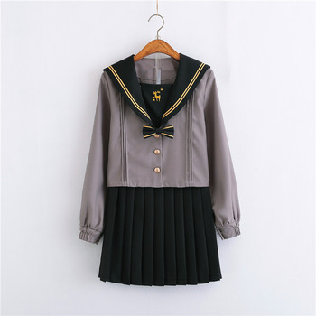 Grey Autumn Sailor Suits Japanese School Uniforms For Girls Cute Long length Pleated Skirt Full Sets Cosplay JK Costume Series image