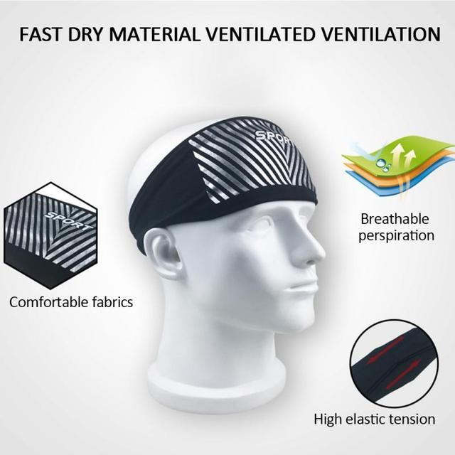 Breathable Sports Fitness Antiperspirant Belt Mens Elastic Headband Wide Sweatband Stretch Sweat Sport Yoga Run Solid Hairband 4