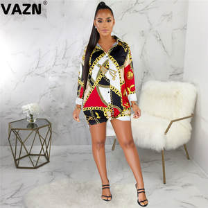 VAZN Print-Dress Button T-Shirt Colors Full-Sleeve Sexy Lady Summer SMR9374 New-Product