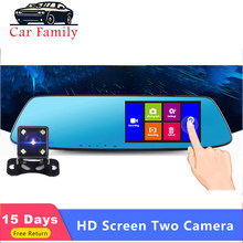 Auto Familie Auto Dvr 4.3 inch Touch auto achteruitkijkspiegel 1080P Full IPS 1080p auto video recorder camera auto reverse afbeelding dual lens