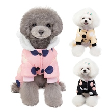Pet Dog Clothes Dots Printed Hooded Jacket With 4-legged Thickening Cotton-padded Costume Warm Coat For Small And Medium Dogs