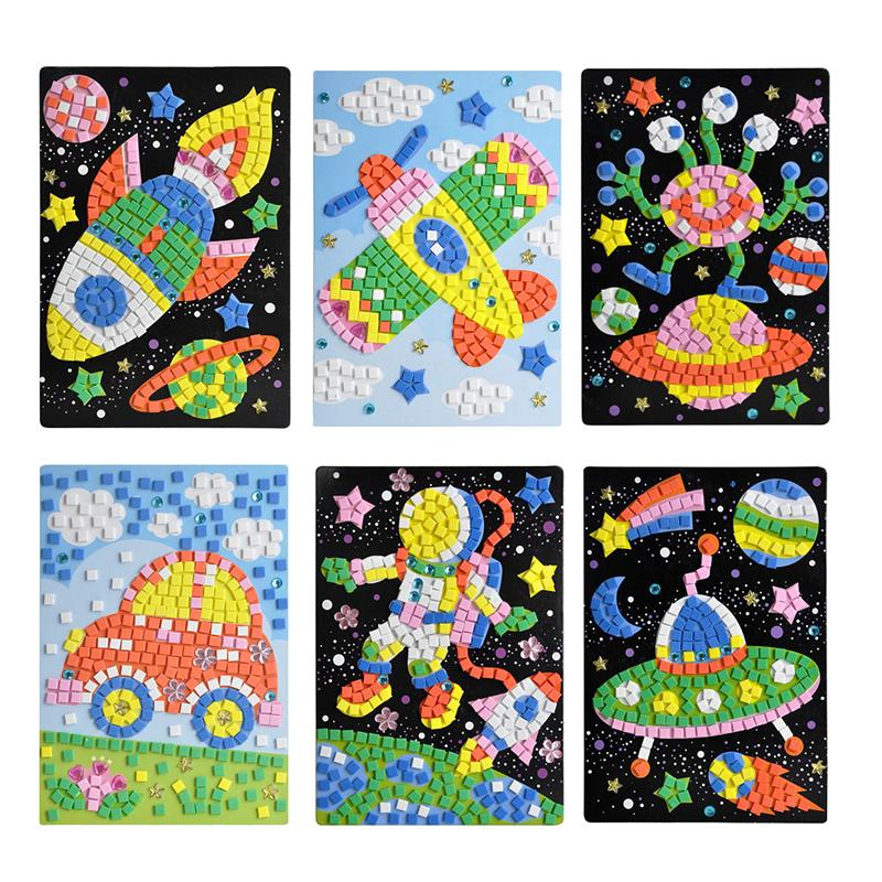 6 Pcs Mosaic Sticker Art Sticky DIY Handmade Art Kits For Kids-Astronaut Alien Car UFO Spaceship Airplane Kid'S Educational Toys image