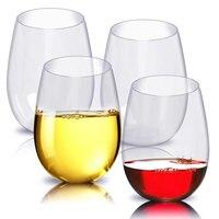 Stemless PET Wine glass es-небьющееся многоразовое стекло для красного или белого вина, 16 унций, набор из 4