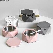 Metal Ashtray Home-Decoration-Accessories Marble-Pattern Boyfriend Gift Creative Portable