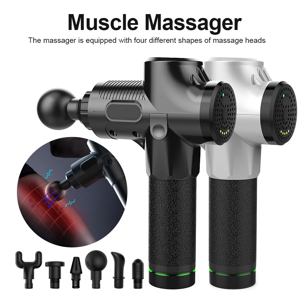 Drop Ship 3 Gears 6 Heads Muscle Therapy Massage Guns With Bag Pain Sport Massage Machine Relax Body Deep Vibration Muscle Relax