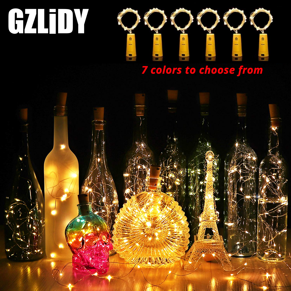 2M 20LED Decorative Wine Bottle Light Cork Lamp DIY Powered Garland for Holiday Decoration Wedding Decoration Light with Battery