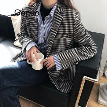 Retro Office Lady Work Style Plaid Striped Blazer Turn Down Collar Long Sleeve Single Breast Casaco Casual Loose цена 2017
