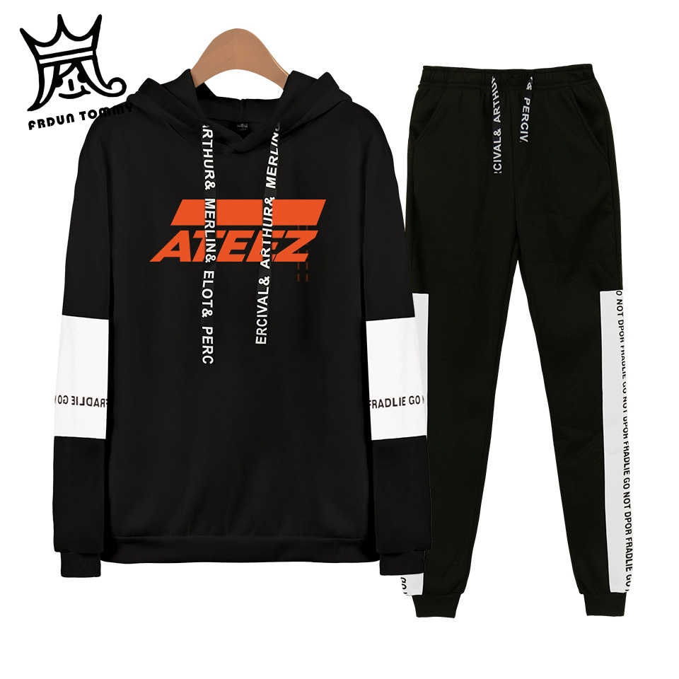 FRDUN TOMMY ATEEZ Kpop Fleece Hooded Pullover Set Women Men Long Sleeve Hip Pop Sweatshirt+Sweatpants Suit Tracksuit Sport Suit