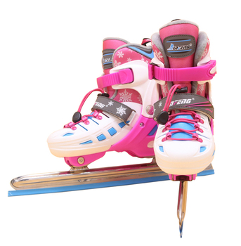 Winter Adult Children Kids Racing Speed Racing Ice Blade Skates Shoes Adjustable Thermal Adjustable Skating Patines 2 Colors цена 2017