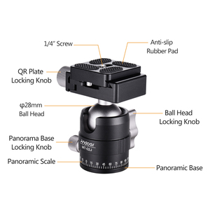 Image 4 - فيديو مدمج بانوراما ترايبود الكرة رئيس كاميرا Ballhead جبل محول 360 درجة دوران سبائك الألومنيوم مع 1/4 بوصة المسمار QR لوحة