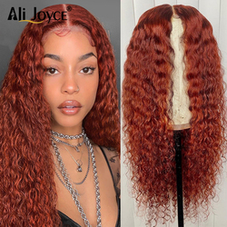 Deep curly wig for black Women 13×1 lace wig Baby hair Wig T part Swiss lace Wig Brown Orange Remy hair Brazilian Human hair Wig