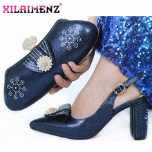 Dark Blue Latest African Autumn Sandals Shoes And Bag To Match Set For Party Fashion Rhinestone Pumps Shoes And Bag Set(China)