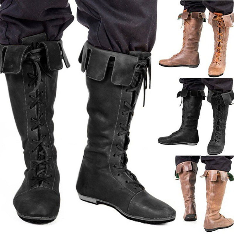 Medieval Viking Pirate Goth Shoes Leather High Boots Men Women For Ren Faire SCA Larp Guardian The Paladin Costume Witcher Gear