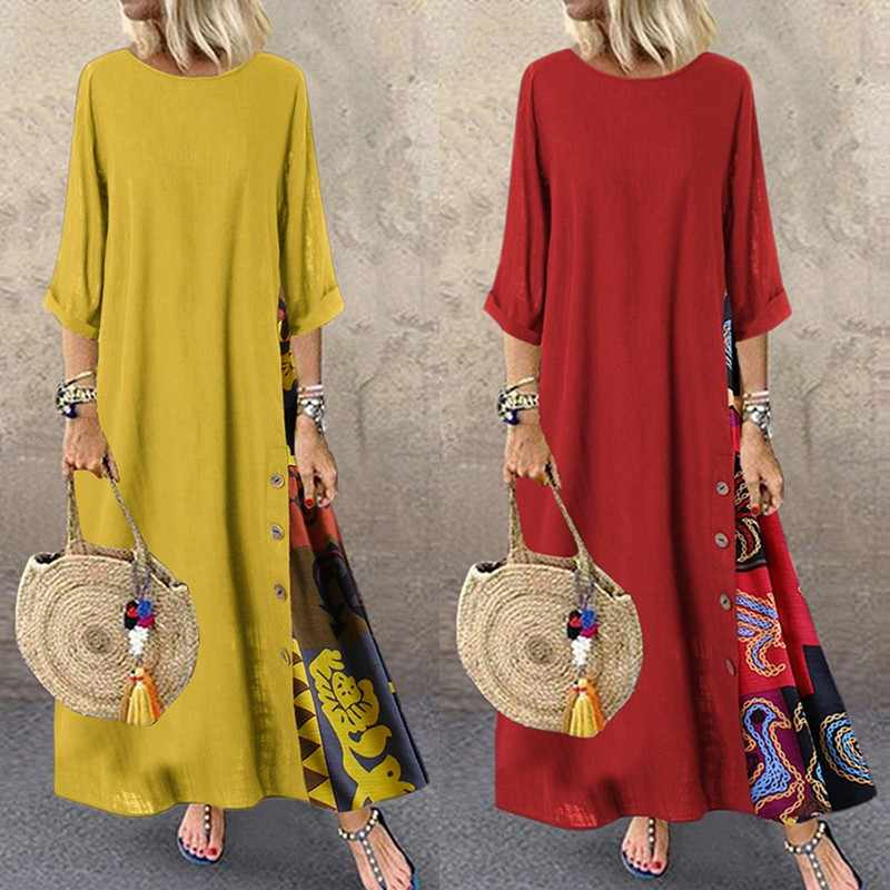 Женское платье цельное лоскутное цветочное клетчатое элегантное праздничное платье для отдыха Плюс Размер Свободное длинное платье на пуговицах Y1 Y8