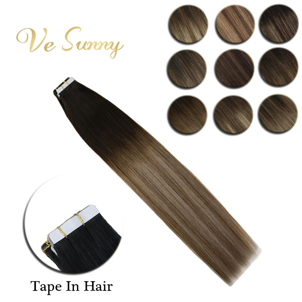 VeSunny Tape In Hair Extensions Human Hair 2.5gr/pcs Ombre Balayage Color Dark Root Machine Remy Hair Highlighted 20pcs 40pcs