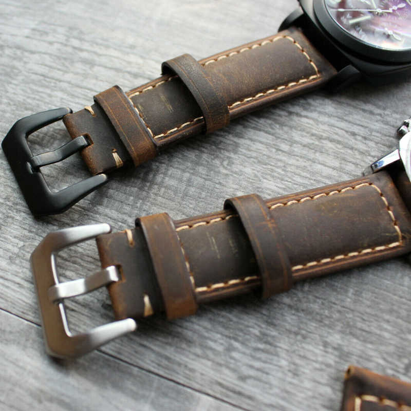 Untuk Panerai Luminor Marina 22 Mm 24 Mm 26 Mm Coklat Calf Kulit Band