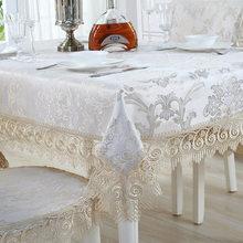 Mantel bordado de lujo de Europa, cubierta de mesa de comedor, hermosa tela encaje jacquard, mesa, bandera, funda para silla, conjunto de cojines