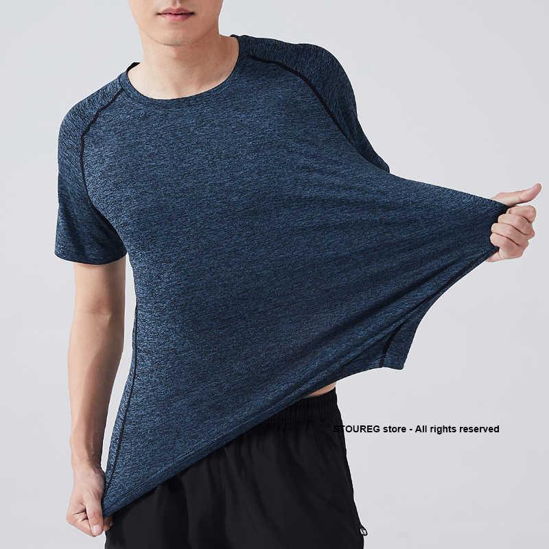 L-4XL erkek koşu t-shirt hızlı kuru erkek spor T Shirt egzersiz Gym eğitim gömlek spor üstleri çalışan spor Tees