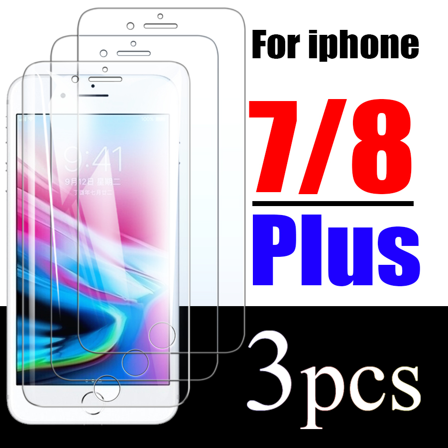 For Iphone 8plus Glass Protect Glas For Iphone 7plus Tempered Ip 7 8 Plus Screen Protector Protective 1 To 3 Pack Film I Phone