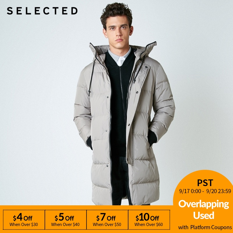 SELECTED New Winter   Down   Jacket Men's Zipper and Hat Casual Medium-and-Long   Coat   Suit S | 418412503