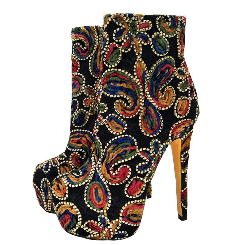 NEW Shoes, lady's ankle boots, high-heeled boots, multi-colour knitted material, 16cm high-heeled bare boots