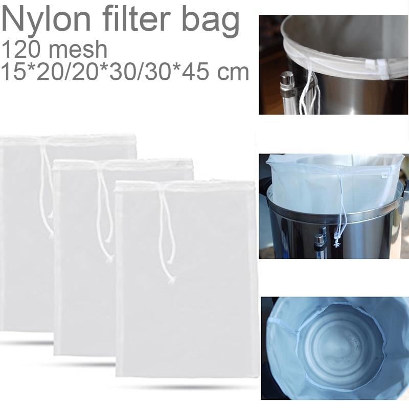 1pc Fine Mesh Nylon Food Strainer Bag Filter Bag For Nut Milk Juice Beer Brew Bag Home Brew Filter Bag With String Malt Mash Bag