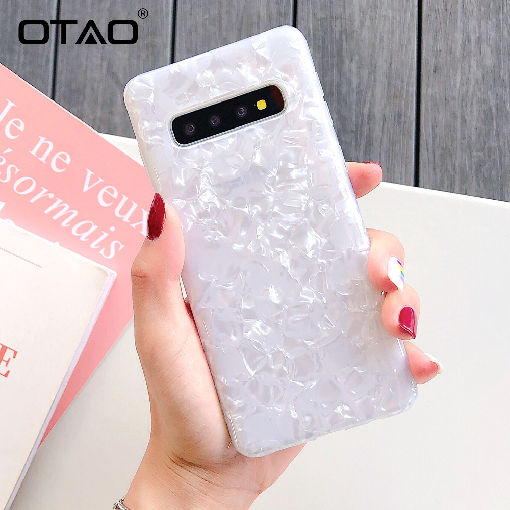 OTAO Glossy Conch Marble Case For Samsung Galaxy S10 S9 S8 Plus Shining Shell Cover For Samsung Note 10 Pro Soft Silicone Cases image
