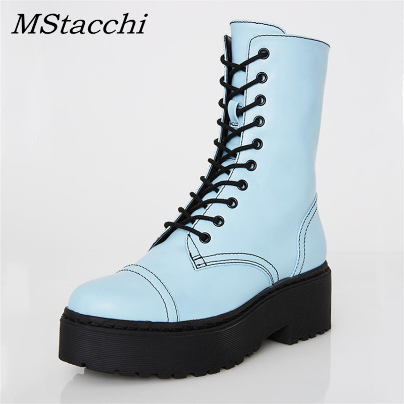MStacchi Women Candy Colors Ankle Boots Woman Motorcycle Platform Winter Lace-Up Snow Shoes Lovers Thick Sole Hihg Heels Boots