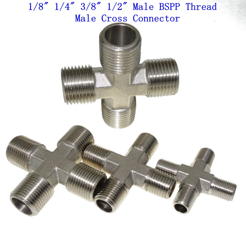 Brass Nickel Plated Pipe Fitting Male Cross Connector 1/8