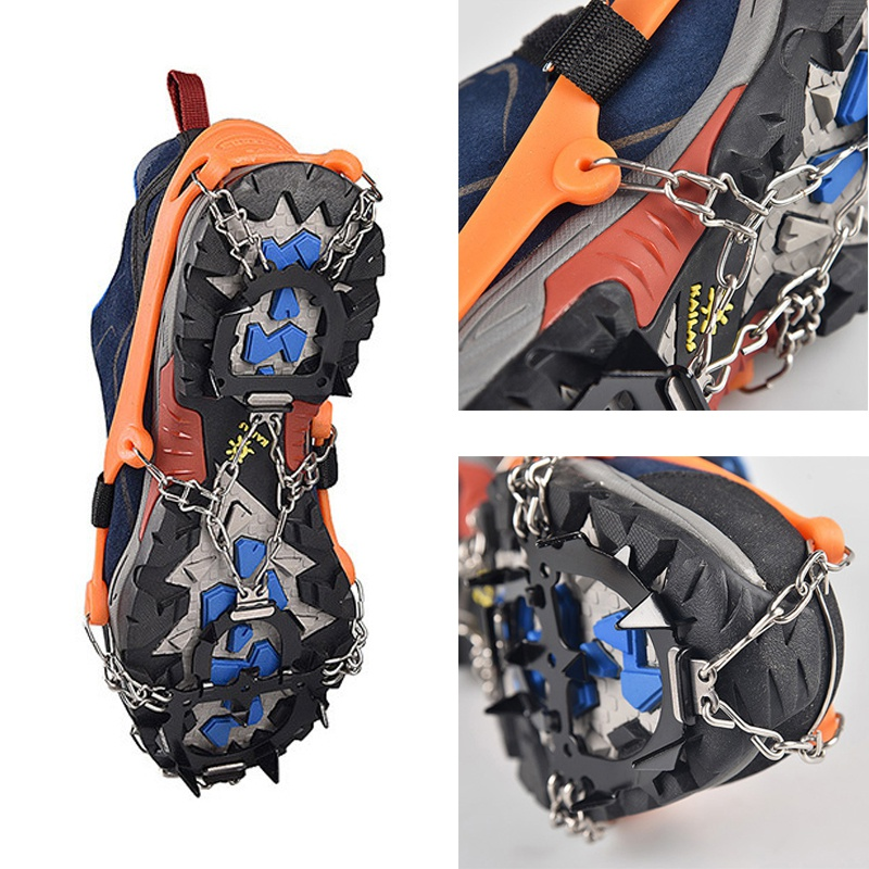 Outdoor Climbing Antiskid Crampons Winter Walk 12 Teeth Ice Fishing Snowshoes Manganese Steel Slip Shoe Covers For Climbing