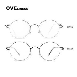 Image 3 - チタンネジなし眼鏡処方レトロ眼鏡フレーム女性ラウンド近視光学韓国眼鏡メガネフレーム男性